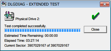 Western Digital Data Lifeguard Diagnostic v1.27 EXTENDED TEST 完了、EXTENDED TEST のテスト完了までにかかった時間は 3時間27分
