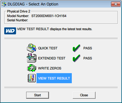 Western Digital Data Lifeguard Diagnostic v1.27 EXTENDED TEST 完了後、VIEW TEST RESULT を選択して Start ボタンをクリック