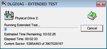 Western Digital Data Lifeguard Diagnostic v1.27 EXTENDED TEST のテスト中(2回目)