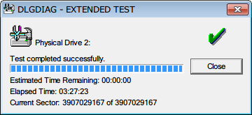 Western Digital Data Lifeguard Diagnostic v1.27 EXTENDED TEST 完了(2回目)、EXTENDED TEST のテスト完了までにかかった時間は 3時間27分