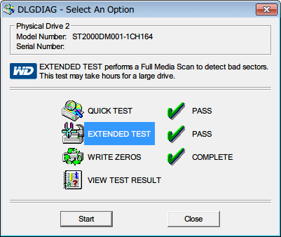 Western Digital Data Lifeguard Diagnostic v1.27 EXTENDED TEST の横にレ点と PASS 文字が表示