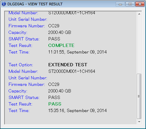 Western Digital Data Lifeguard Diagnostic v1.27 EXTENDED TEST 完了後、VIEW TEST RESULT 内容、問題なし