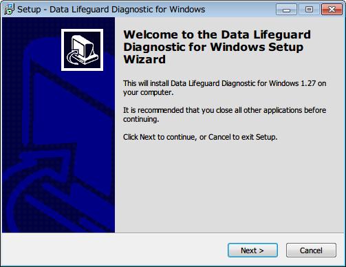 Western Digital Data Lifeguard Diagnostic v1.27 セットアップ画面が表示、Next ボタンをクリック
