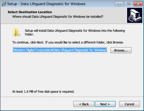 Western Digital Data Lifeguard Diagnostic v1.27 インストール先フォルダを指定、Next ボタンをクリック