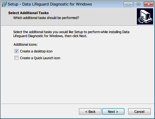 Western Digital Data Lifeguard Diagnostic v1.27 ショートカットアイコンとクイックランチアイコン作成の選択画面、必要なものにチェックマークを入れて Next ボタンをクリック