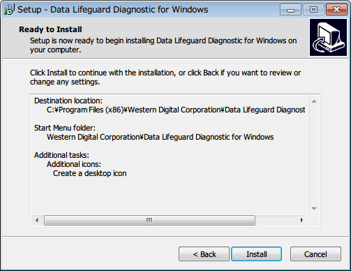 Western Digital Data Lifeguard Diagnostic v1.27 Install ボタンをクリックするとインストール開始
