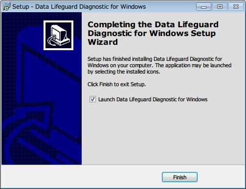 Western Digital Data Lifeguard Diagnostic v1.27 Finish ボタンをクリックしてインストール完了