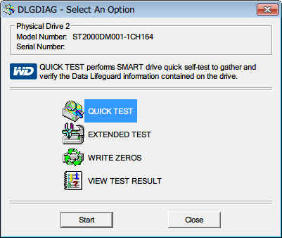 Western Digital Data Lifeguard Diagnostic v1.27 DLGDIAG - Select An Option 画面、QUICK TEST を選択して Start ボタンをクリック