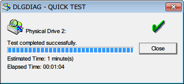 Western Digital Data Lifeguard Diagnostic v1.27 QUICK TEST 完了、QUICK TEST のテスト完了までにかかった時間は 1分