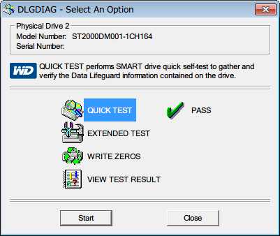 Western Digital Data Lifeguard Diagnostic v1.27 QUICK TEST の横にレ点と PASS 文字が表示