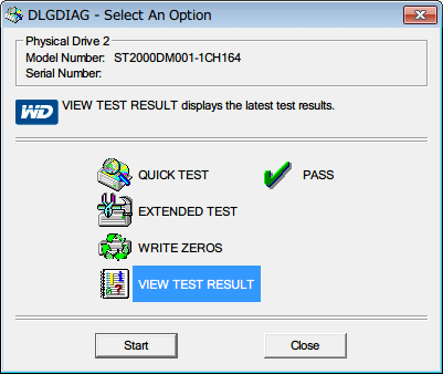 Western Digital Data Lifeguard Diagnostic v1.27 QUICK TEST 完了後、VIEW TEST RESULT を選択して Start ボタンをクリック