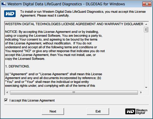 Western Digital Data Lifeguard Diagnostic v1.27 インストールした Data Lifeguard Diagnostic のショートカットアイコンから、または WinDlg_v1_27.zip の中にあった WinDlg.exe を起動、I accept this License Agreement にチェックマークを入れ Next ボタンをクリック