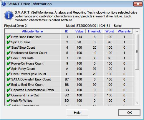Western Digital Data Lifeguard Diagnostic v1.27 テストしたい HDD を選択、マウス右クリックのメニューから Show SMART Drive Info をクリック、SMART Drive Infomation 画面