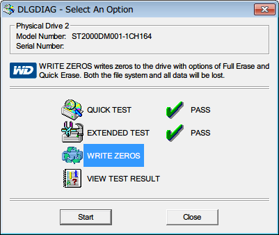 Western Digital Data Lifeguard Diagnostic v1.27 WRITE ZEROS を選択して Start ボタンをクリック