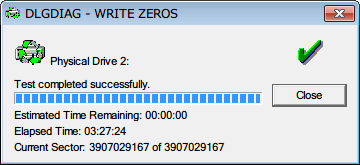 Western Digital Data Lifeguard Diagnostic v1.27 WRITE ZEROS - FULL ERASE 完了