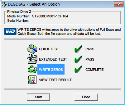 Western Digital Data Lifeguard Diagnostic v1.27 WRITE ZEROS の横にレ点と COMPLETE 文字が表示