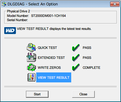 Western Digital Data Lifeguard Diagnostic v1.27 WRITE ZEROS(FULL ERASE) 完了後、VIEW TEST RESULT を選択して Start ボタンをクリック