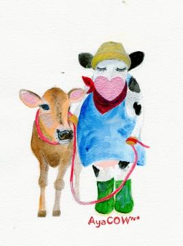 仔牛と散歩