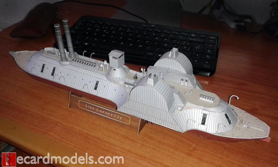 カードモデル始めました Heinkel Models アメリカ装甲艦 USS Lafayette ...