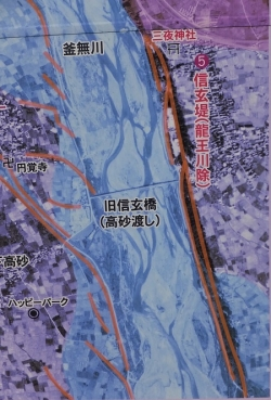 信玄堤の霞堤の図