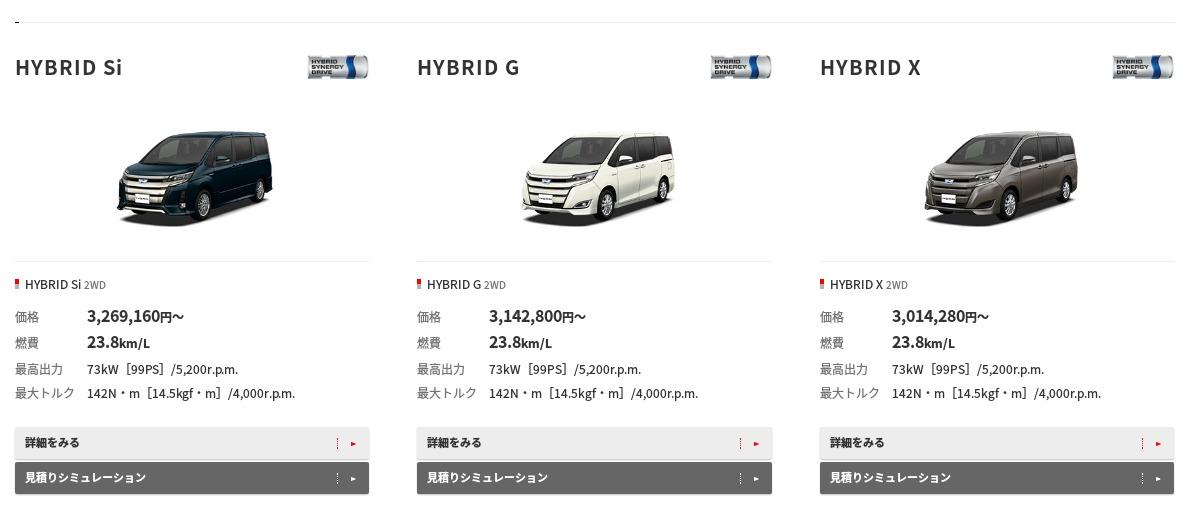 トヨタ ノア 価格 グレード トヨタ自動車WEBサイト