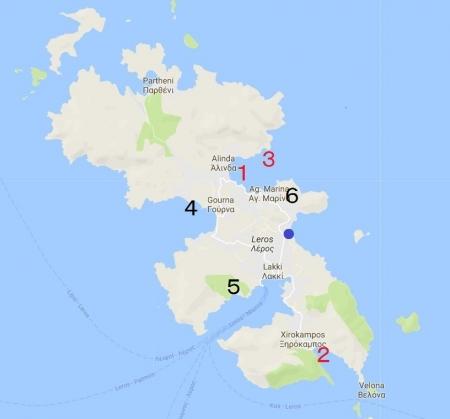 レロス 訪れた場所地図