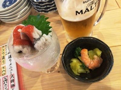 170616天秤棒玉造店6月、7月は生ビール祭り100円ハモ3貫1人1皿限定で100円