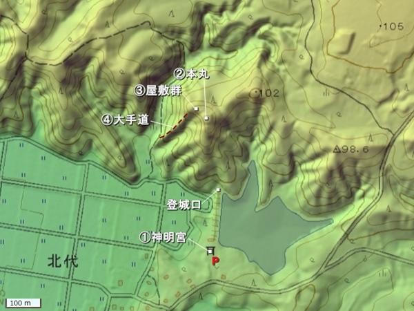 大間城地形図