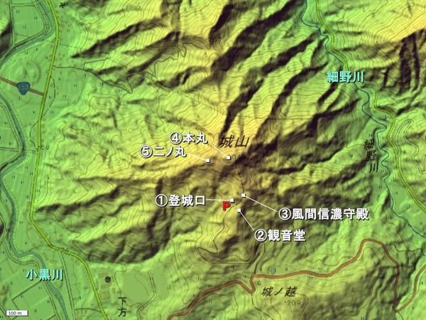 直峰城地形図