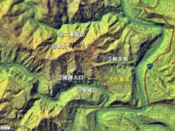 犬伏城地形図