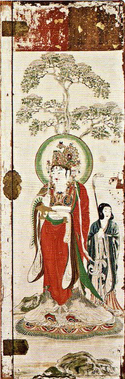 明治期に流出した吉祥天厨子の後壁・扉絵(東京芸術大学所蔵)~帝釈天像