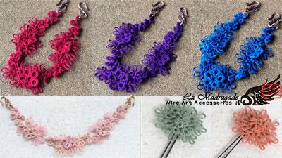 羽織紐 赤、群青、京紫と、桜モチーフ、 FlowerCircleUピン