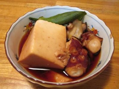 タコと豆腐オクラの甘辛煮2