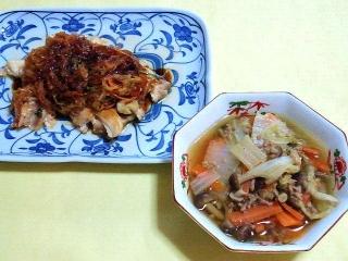 170922_4879 鶏ももの大根黒酢あんかけ・白菜と挽肉の煮物VGA