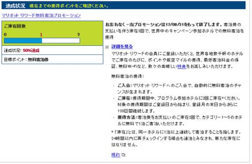 マリオット入会登録プロモ50%達成