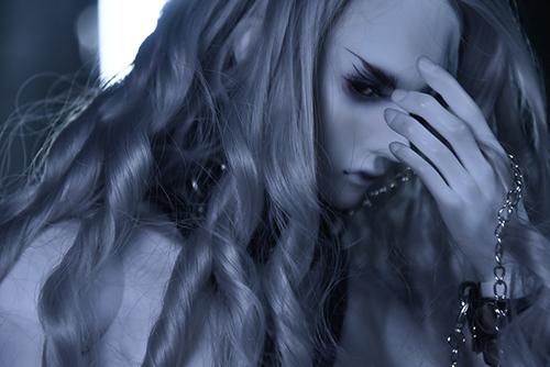 Ring doll、杉苔の空さんにメイクして頂いた、ゾンビヘッド・KaneのKarma。牢獄で拘束され、やがて暴かれた醜い素顔。