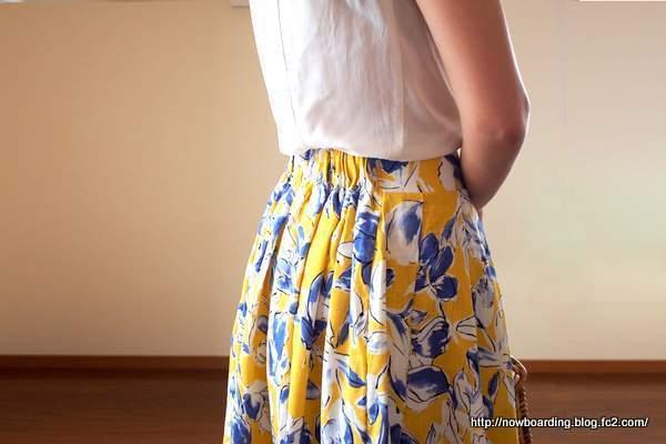 コットン混素材★花柄フレアスカート