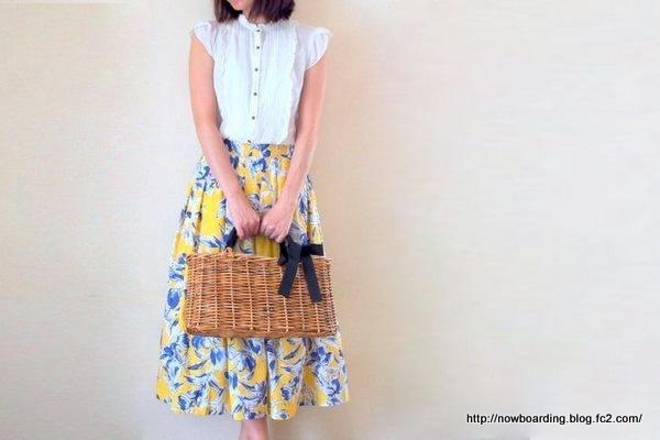 Myu ボタニカル柄 コットン混素材花柄フレアスカート