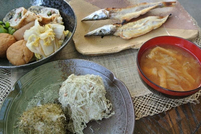 カマスの干物で朝ご飯1