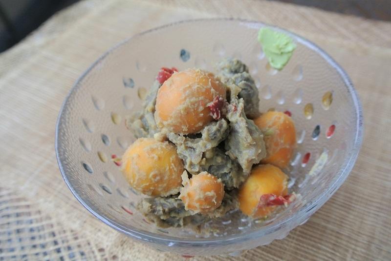 キンカンと砂肝の白味噌煮わさび風味1