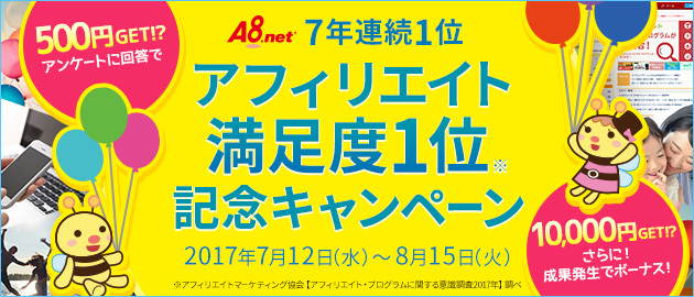 A8.net アフィリエイト満足度1位記念キャンペーン
