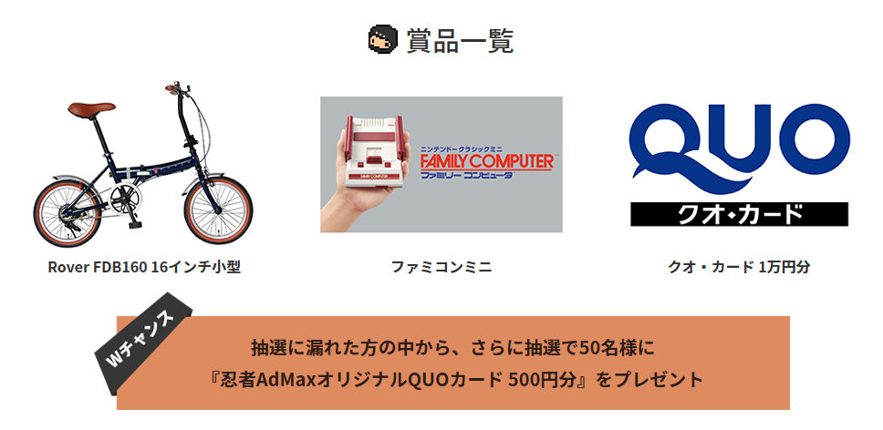 忍者AdMax 6周年 賞品