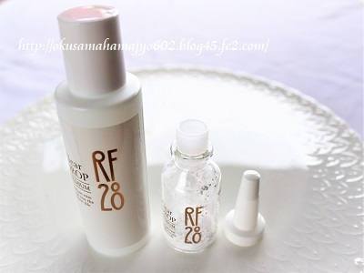 RF28 クリアドロップ プレミアムの粉末と溶液
