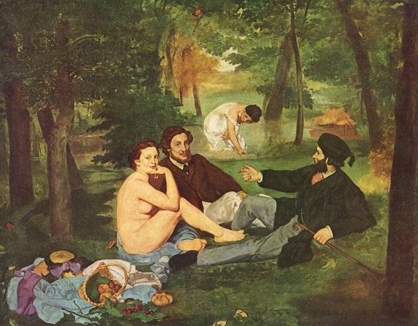 『草上の昼食』(1862-63、オルセー美術館、エドゥアール・マネ)