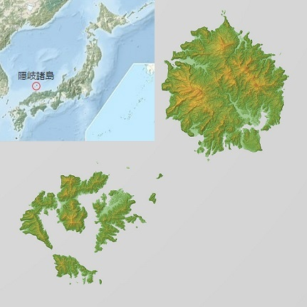 隠岐諸島の地形図
