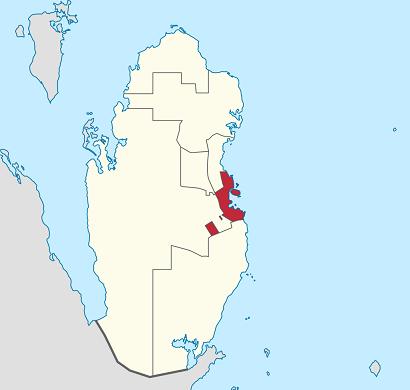 カタール内のドーハの位置