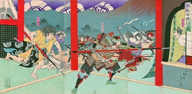 『本能寺焼討之図』(楊斎延一画、明治時代、名古屋市所蔵)