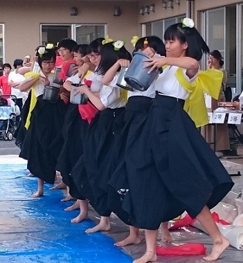 米子西高校書道パフォーマンス1