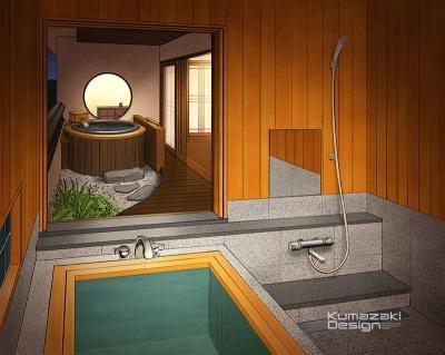 温泉旅館 露天風呂付客室 内観パース イラスト 手書きパース 手描きパース フォトショップ