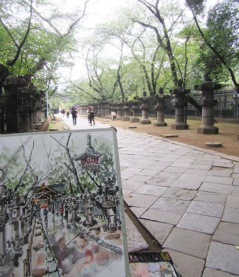 上野東照宮でスケッチ